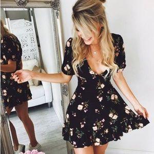 Dresses & Skirts - Women black Boho floral spring summer mini dress